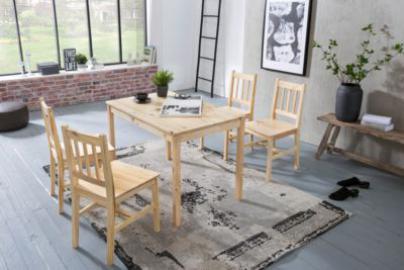 5-tlg. Essgruppe Kiefer Massivholz, 1 Esstisch + 4 Stühle braun