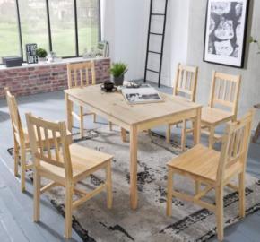 7-tlg. Essgruppe Kiefer Massivholz, 1 Esstisch + 6 Stühle braun