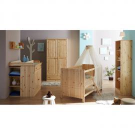 Babyzimmer Komplett LUZERN-22 massiv natur lackiert, Babybett, Wickelkommode mit Regal, Kleiderschrank und Standregal