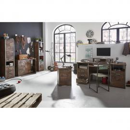 Büromöbel Set in Panamaeiche DERRY-04 mit Schreibtisch und Contaner, 2x Highboard, Kommode