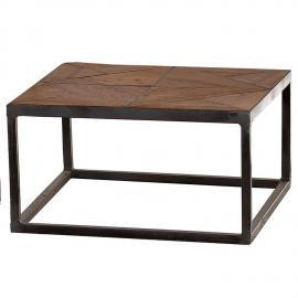 Couchtisch CROSS-14 75x75x45cm Holz natur, lackiert, Metall antik-grau recyceltes Teak + Stahl