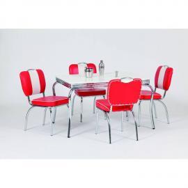 Diner Bistrogruppe mit 120cm Esstisch DENVER-31 5tlg rot/weiß