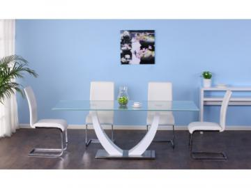 Essgruppe Mezzo: Esstisch & 4 Stühle - Weiß