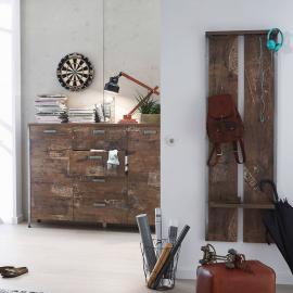 Garderoben-Möbel Set mit Wandpaneel, und Kommode in Panamaeiche DERRY-04