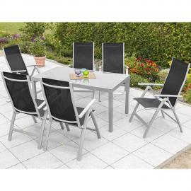 Garten Sitzgruppe 6x Garten Klappsessel 1x Gartentisch 150 cm schwarz PALMA-29