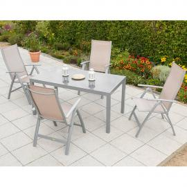 Garten Sitzgruppe Aluminium 4 Garten Klappsessel 1 Gartentisch 150 cm champagner PALMA-29