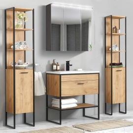 Industrial-Style Badmöbel Set 5-teilig Gold Craft Oak-Eiche MANHATTAN-56 B/H/T 190/185/46cm