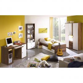 Jugendzimmer Set 4-teilig in Walnuss Nb., weiß lackiert MIRANDA-22 mit 115m Kleiderschrank mit Spiegel und Schreibtisch