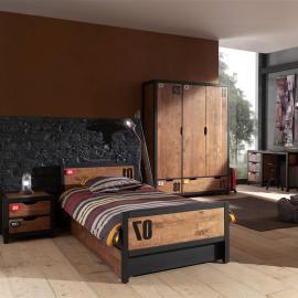 Jugendzimmer Set massiv CUSCO-12 Nachtkonsole, Einzelbett, Bettschublade, Schreibtisch und Kleiderschrank 3-trg., cognacfarbig, schwarz, B x H x T ca. 466 x 200 x 55cm