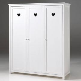 Kleiderschrank 3-trg. ANNECY-12, MDF weiß lackiert, B x H x T ca. 159 x 190,5 x 57 cm