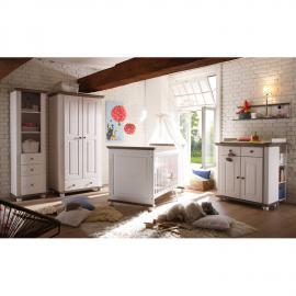 Landhaus Babyzimmer Komplett-Set 5 CHIASSO-22 Massiv Lava Weiß mit Kleiderschrank 2-trg, Anstellregal, Wandregal, Wickelkommode & Babybett