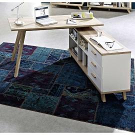 Schreibtisch mit Sideboard SOSLO-01 supermatt weiß, Sanremo Eiche, B x H x T: ca. 144 x 75 x 145 cm