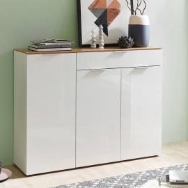 Sideboard VICTORIA-01 Hochglanz weiß, Navarra Eiche, B x H x T 135 x 105 x 40 cm