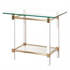 Tavolino d'appoggio Moselle II - Acciaio/Legno massello Dorato/Bianco lucido, Home Design