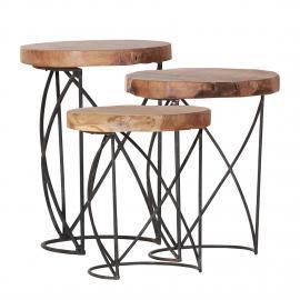 Set di tavolini d'appoggio Sorel (3 pezzi) - Legno massello teak, Red Living