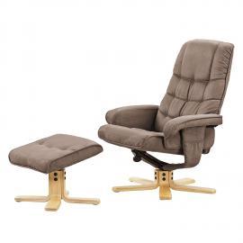 Poltrona reclinabile con poggiapiedi Sund - microfibra - beige caldo - Beige caldo, Nuovoform