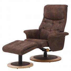 Poltrona reclinabile con poggiapiedi Tornos - microfibra - marrone, Nuovoform
