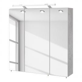 energia A+, Armadietto con specchio da bagno Genf - Grigio pietra, Schildmeyer