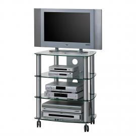 Mobiletto TV Glenview II - Alluminio/Vetro trasparente, Maja Möbel