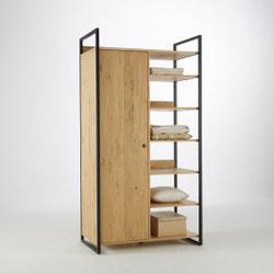 Módulo armario perchero/6 estantes de pino macizo tintado Hiba