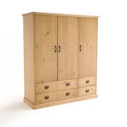 Armario Lindley 3 puertas, 4 cajones, 2/3 colgador y 1/3 estantes