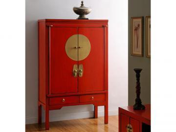 Armario NANTONG - 2 puertas & 2 cajones - Largo 105 cm - Madera de olmo - Rojo
