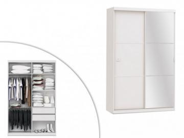 Armario con espejo PEGGY - 2 puertas correderas - Largo 144 cm - Blanco