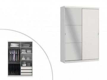 Armario con espejo EINAR - 2 puertas - Largo 160 cm - Blanco