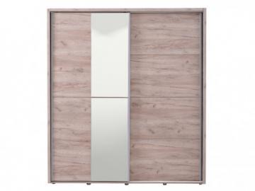 Armario GALINA - 2 puertas correderas - Con espejo - L.184 cm - Castaño