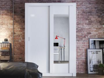 Armario PETTERI - 2 puertas correderas - Con espejo - L.152 cm - Blanco