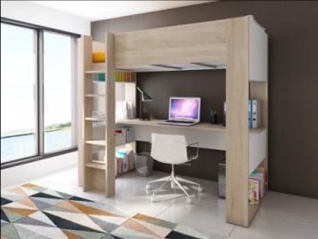 Cama alta NOAH con escritorio y estantería integrados - 90x190cm