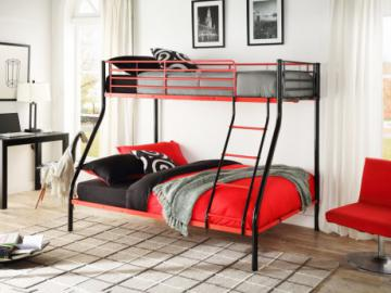 Cama litera COMPAGNON - 90 & 140x190 cm - Negro y rojo