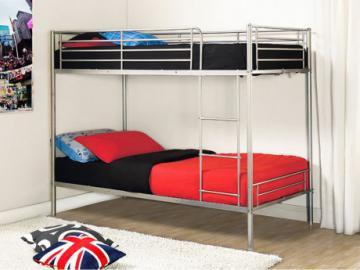 Cama litera DUOTIS II - 2 camas 90x190 cm - Plateado