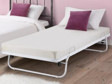 Somier cama auxiliar plegable ADONIS - 90x190 cm - Metal - Blanco
