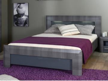Estructura de cama BRITANY - 140x190 cm - Panel de partículas acabado olmo gris y luces LEDs