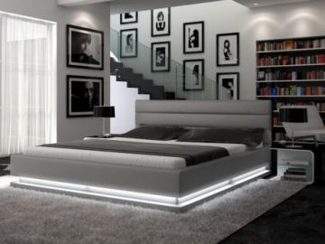 Estructura de cama NUBIS - 160x200 cm - Piel sintética plata con leds