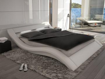 Estructura de cama ONDULIS - 160x200 cm - Piel sintética blanca con leds