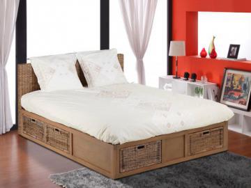 Estructura de cama BAYANI - 160x200 cm - Mimbre & caoba - 6 cajones