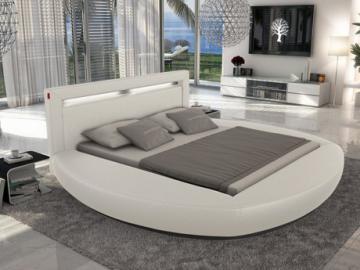 Estructura de cama ABULIS II - 160x200 cm - Piel sintética blanca con leds