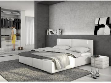 Estructura de cama SOREN - 160x200 cm - Piel sintética blanca con leds
