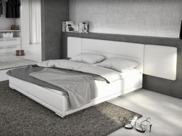 Cama LORIK - 180 x 200 cm - Piel sintética blanca