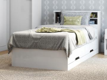 Cama BORIS con espacios de almacenaje - Blanco - 90x190 cm