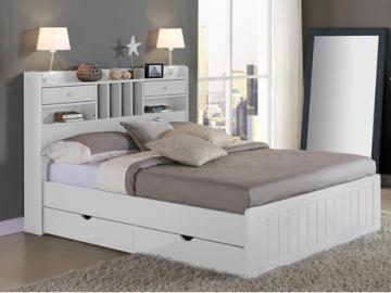 Estructura de cama MEDERICK con almacenaje - 140x190 cm - Pino blanco