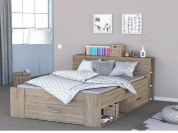 Estructura de cama LEONIS con espacio de almacenaje - 160x200cm - Roble cepillado
