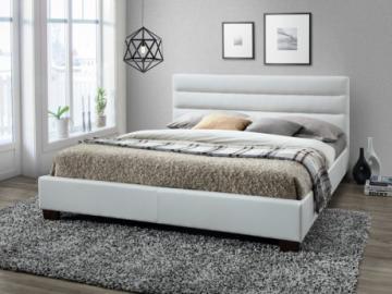 Cama FAUSTIN - 160x200 cm - Piel sintética blanca