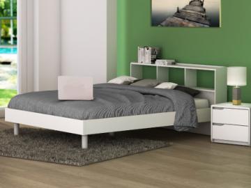 Cama LUCILE - Blanco - 140x190 cm - Con compartimentos