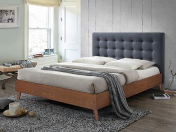 Cama FRANCESCO 140x190cm - Tela gris y madera