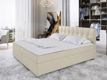Conjunto boxspring completo con cabecero + somieres + colchón + cubrecolchón SIERO de DREAMEA - 2x80x200 cm - Piel sintética - Marfil