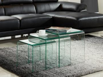 Conjunto de 3 mesas de centro nido MINKA - Vidrio curvado