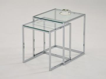 Conjunto de 2 mesas de centro nido ZURIA - Cristal templado & metal cromado